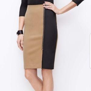 Ann Taylor Colorblock Nude/Tan & Black Skirt 0